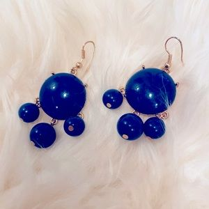 Navy Blue And Gold Trimmed Dangle Earrings NWOT